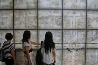 The exhibition floors inside the gatehouse were excellent and included this wall covered in old city maps.