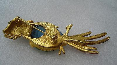 Vintage enamel glass belly parrot brooch / pin