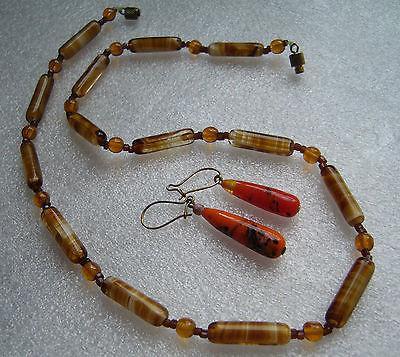 Vintage old venetian swirl glass necklace & earrings