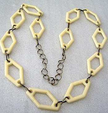 Vintage 1960's off white early plastic & metal geometric necklace