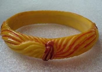 Vintage early plastic hand carved and painted art deco bangle bracelet