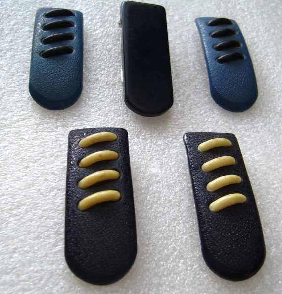 Vintage 1930s art deco celluloid galalite fur clips - lot of 5