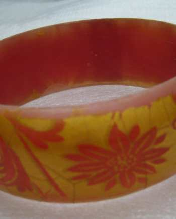 Vintage orange printed plastic bangle