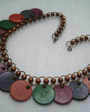 Vintage book piece swirl multi-color early plastic necklace - bakelite era