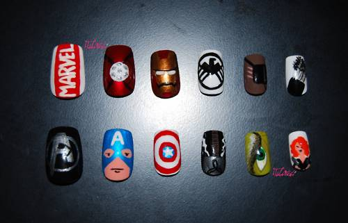 Avengers Hand Painted Nail Art