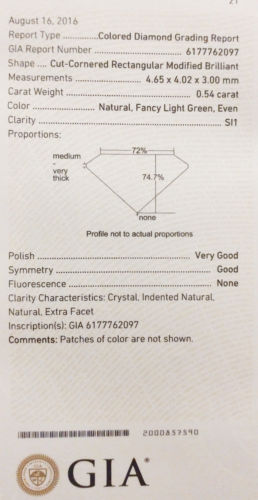 Green Diamond - 0.54ct Natural Loose Fancy Light Green Diamond GIA Radiant SI1