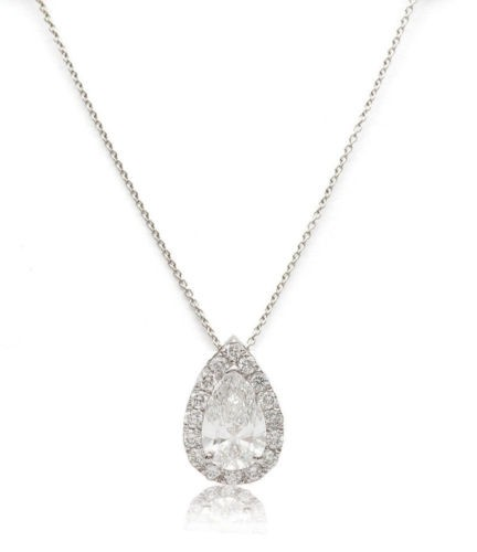 1.08ct Diamond Pendant Pear Shape 18K Solid White Gold G Color SI2 Halo Style