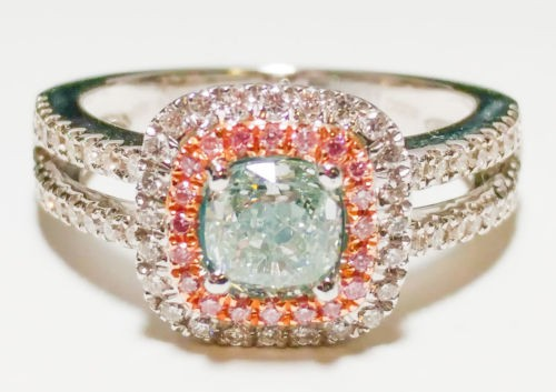 1.50ct Natural Fancy Light Green And Intense Pink Diamonds Ring GIA Engagement