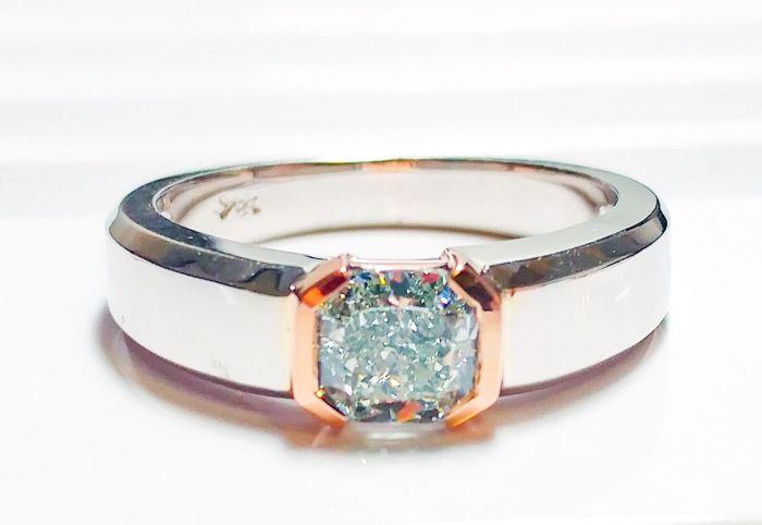 Green Diamond - Men's Unisex Ring 1.29ct Natural Fancy Light Green GIA 18K Gold