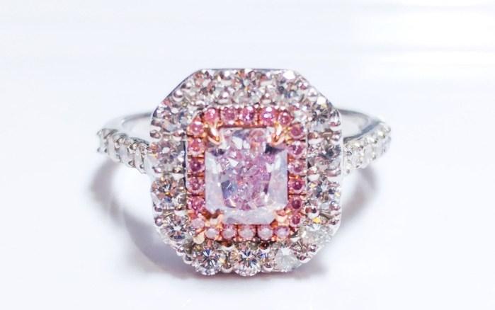 1.64ct Fancy Light Pinkish Purple Diamond Engagement Ring GIA 18K White Gold SI1