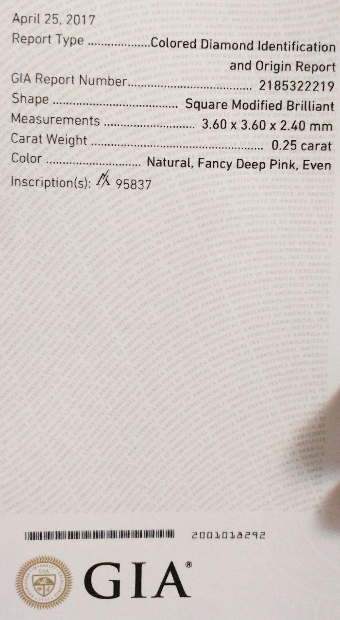 Pink Diamond - 0.25ct ARGYLE Natural Loose Fancy Deep Pink GIA Princess PR4