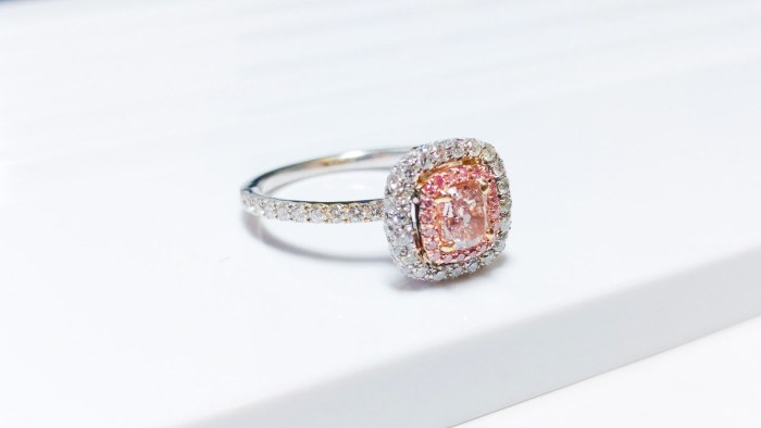 1.06 CT Fancy Pink Diamond Engagement Ring GIA Cushion Hallo 18K White Gold VS1