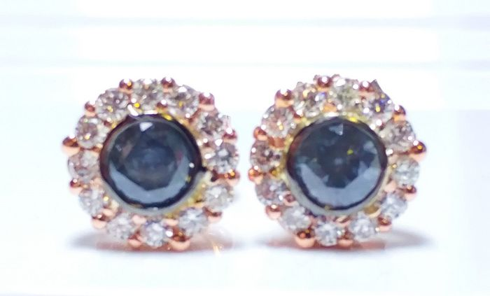 1.12ct Natural Fancy Blue Gray Diamonds Earrings Rounds GIA 18K White Gold