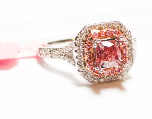 1.21ct Fancy Intense & Vivid Pink Diamond Engagement Ring GIA 18K White Gold SI2