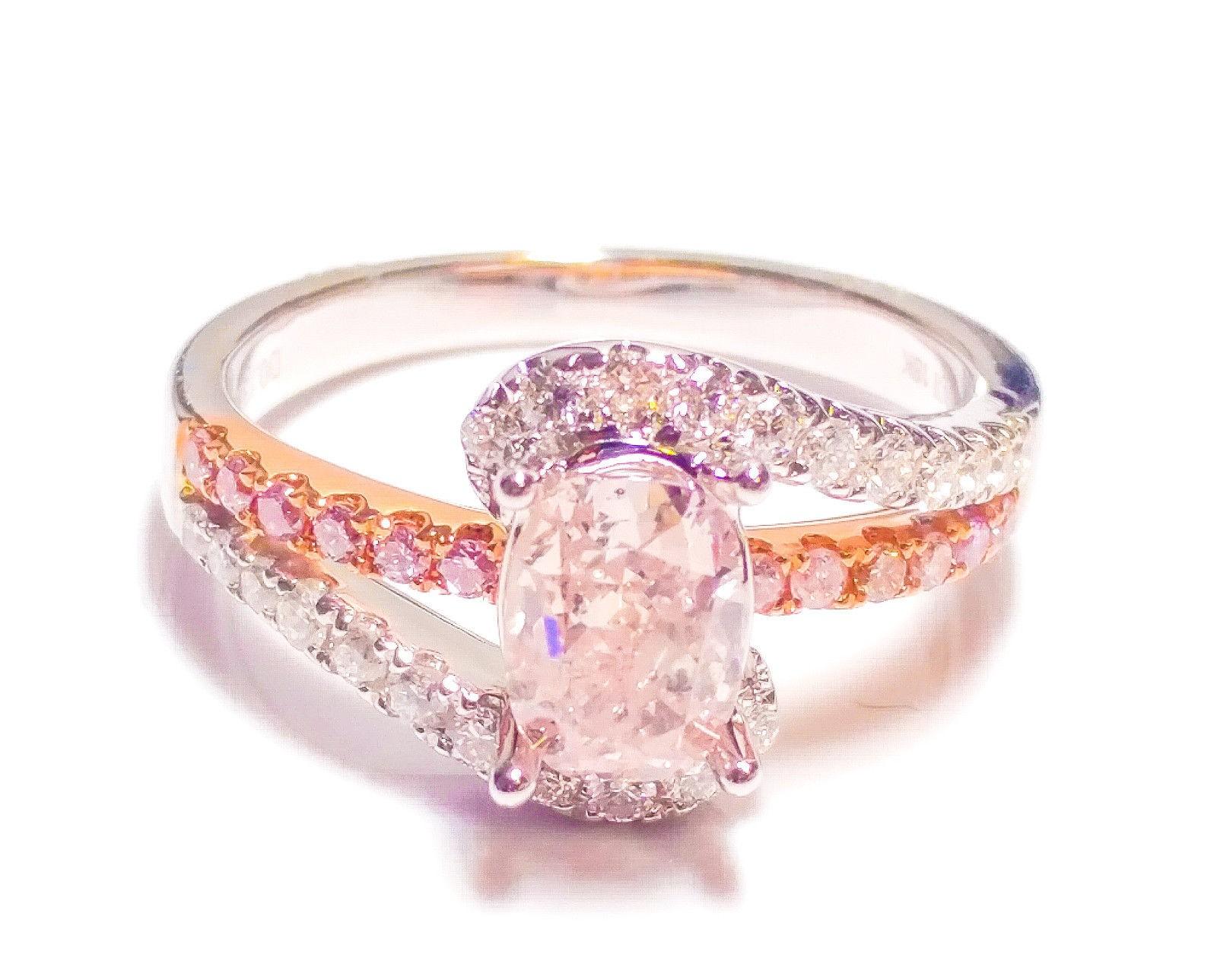 1.40ct Natural Fancy Pink Diamond Engagement Ring GIA Cushion