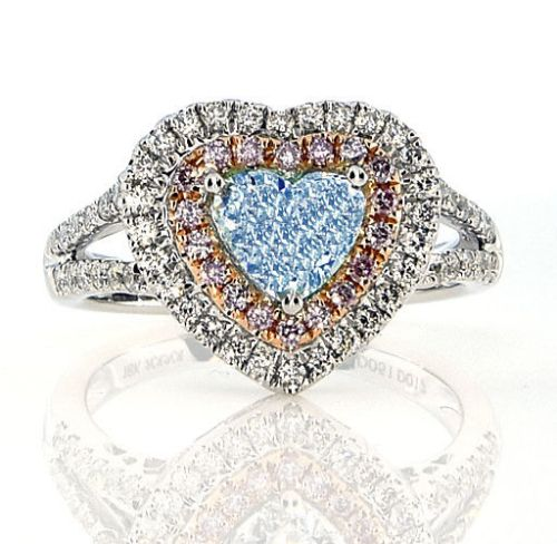 Real GIA 1.73ct Natural Fancy Light Blue & Pink Diamonds Engagement Ring 18K