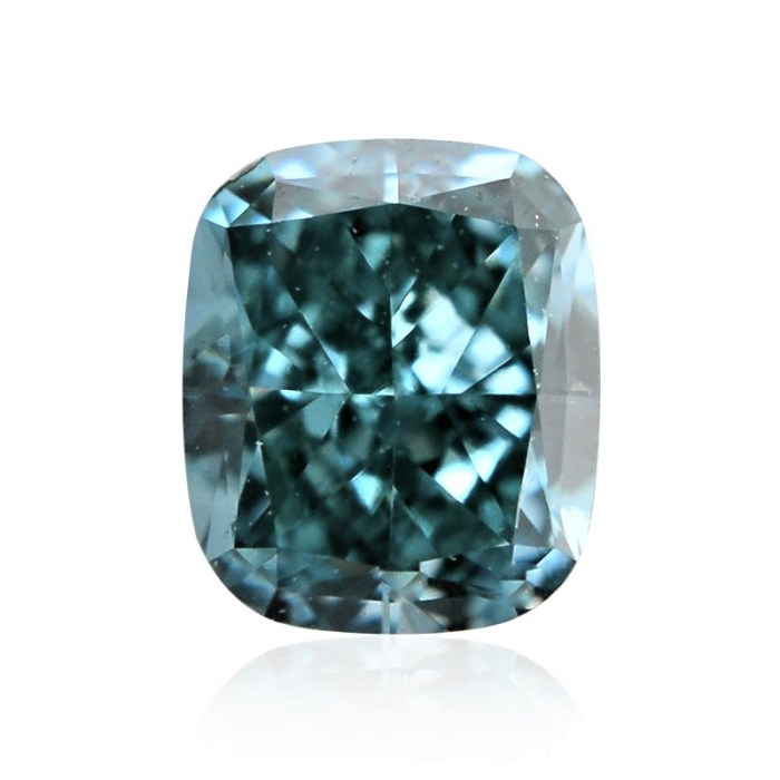 0.65ct Natural Loose Fancy Vivid Green Blue SI2 Cushion GIA Certified