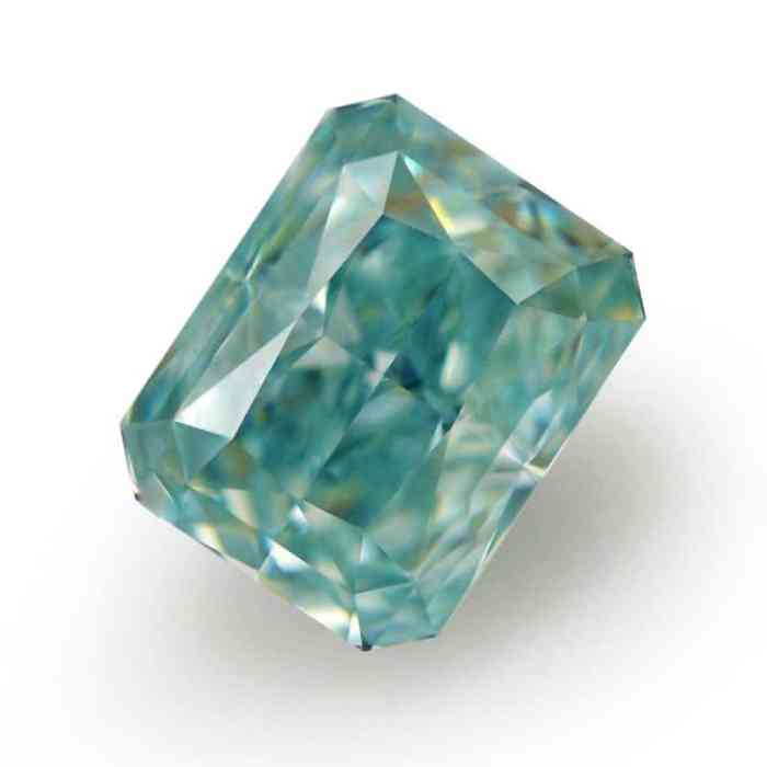 0.79ct Natural Loose Fancy Intense Greenish Blue SI2 Radiant GIA Certified