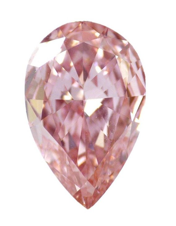 0.56ct Natural Loose Fancy Intense Pink SI2 Pear GIA Certified