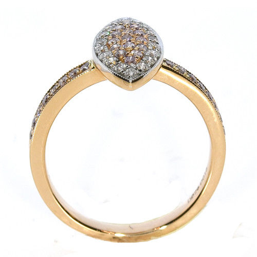 Real 0.40ct Natural Fancy Pink Diamonds Engagement Ring 18K Solid Gold 6G Band