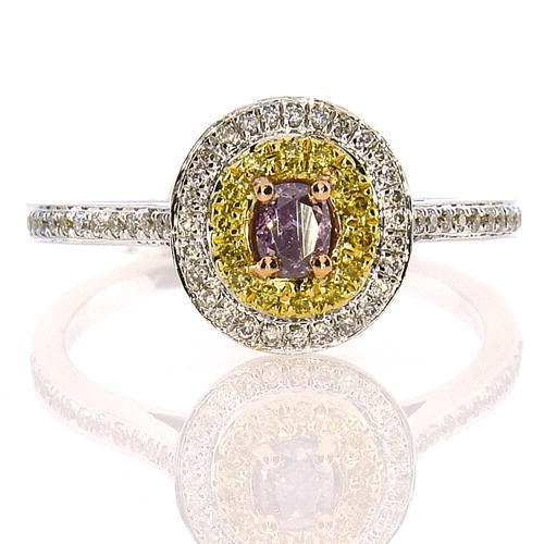 Real 0.60ct Natural Fancy Dark Purple Diamonds Engagement Ring 18K Solid Gold
