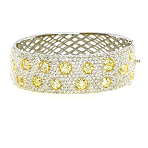 Real 15.5ct Natural Fancy Yellow Diamonds Bracelet Bangle 18K Solid Gold 54G