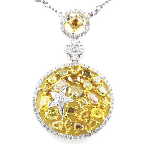 Real 4.03ct Natural Fancy Mix Yellow Diamonds Pendant Necklace 18K Solid Gold