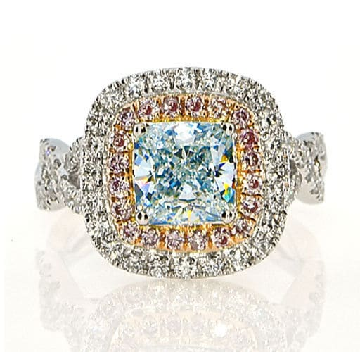 GIA 3.12ct Natural Fancy Light Blue Pink Diamonds Engagement Ring 18K