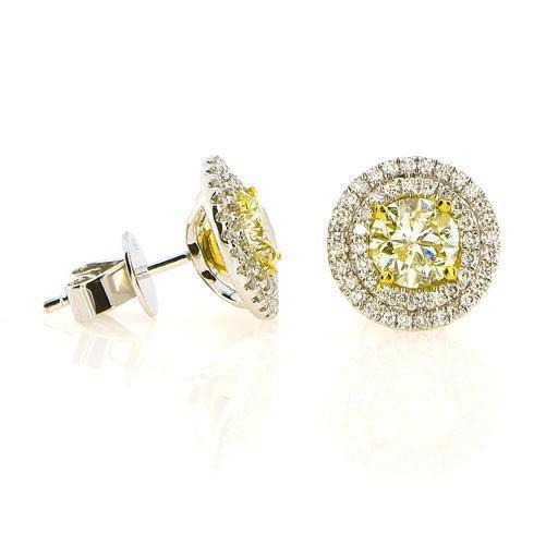2.30ct Fancy Intense Yellow Diamonds Earrings 18K All Natural 4.4 Grams W Gold