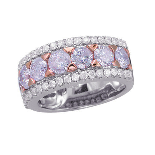 Real 1.34ct Natural Fancy Pink Diamonds Engagement Ring 18K Solid Gold 6G Band