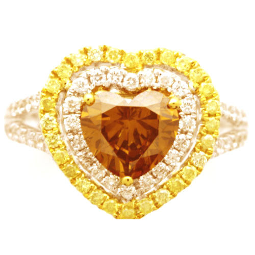 Real 2.40ct Natural Fancy Yellow Orange Diamonds Engagement Ring 18K Solid Gold