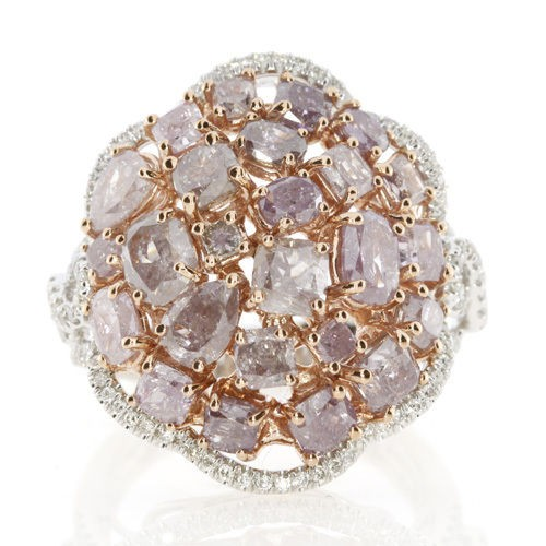 Real 4.00ct Natural Fancy Pink Diamonds Engagement Ring 18K Solid Gold 10G