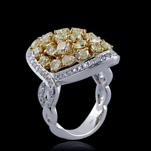 Real 4.74ct Natural Fancy Yellow Diamonds Engagement Ring 18K Solid Gold Brown