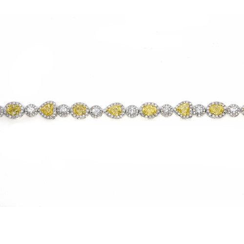 Yellow Diamonds - Bracelet 9.44ct Natural Fancy Yellow Diamonds 18K Gold Real
