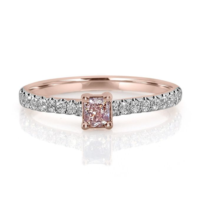 Real 0.50ct Natural Fancy Pink Diamond Engagement Ring 18K Solid Rose Gold