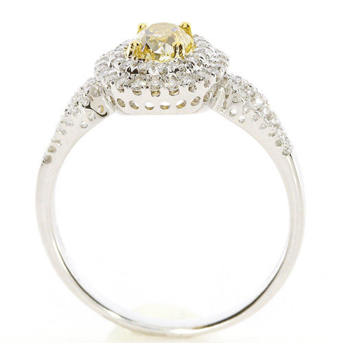 Real 0.85ct Natural Fancy Yellow Diamonds Engagement Ring 18K Solid Gold Oval