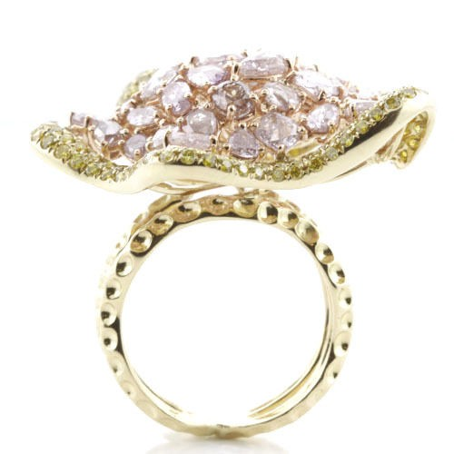Real 7.50ct Natural Fancy Pink Diamonds Engagement Ring 18K Solid Gold 14G