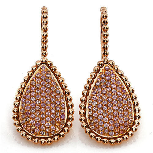 1.52ct Fancy Pink Diamonds Earrings 18K All Natural 10 Grams Real Rose Gold