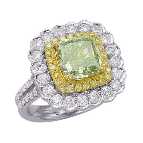 4.83ct Natural Fancy Deep Green Yellow GIA Diamonds Engagement Ring 18K Gold