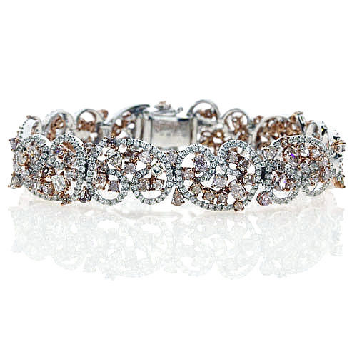 Pink Diamonds - Bracelet 15.5ct Natural Fancy Pink Mix Color 18K 40 Grams Heavy