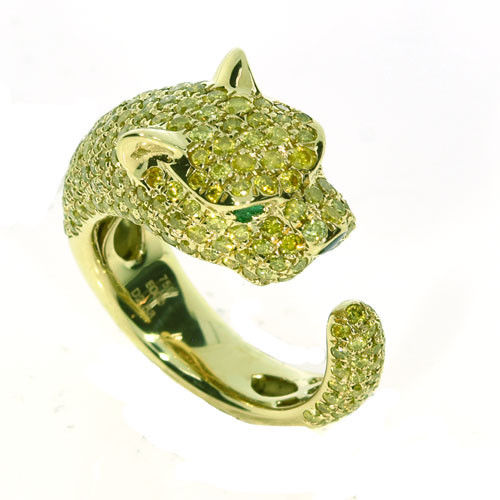Real 2.71ct Natural Fancy Yellow Diamonds Engagement Ring 18K Solid Gold Tiger