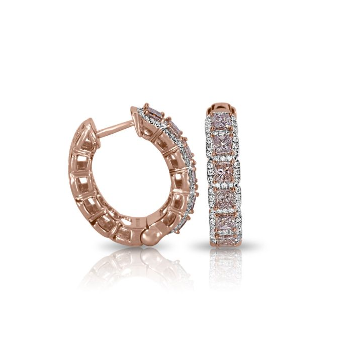 Real Fine 2.10ct Fancy Pink Diamonds Earrings 18K All Natural 10 Grams Rose Gold