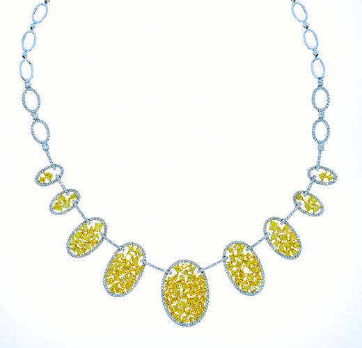 14.82ct Fancy Intense Yellow Diamonds Necklace 18K All Natural 37G Real Gold
