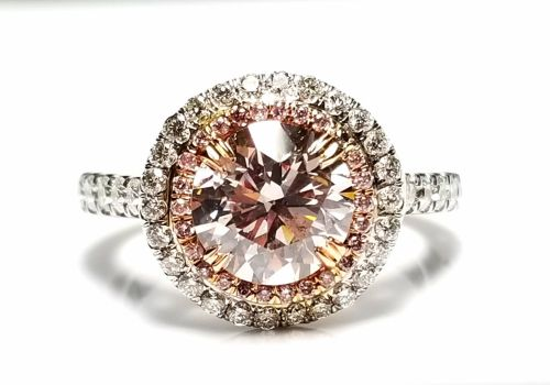 2.77ct Natural Fancy Light Pink Diamond Engagement Ring GIA 18K White Gold Round