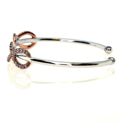 Real 0.12ct Natural Fancy Pink Diamonds Bracelet Bangle 18K Solid Gold 14G