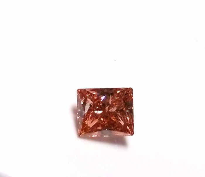Real 0.48ct Natural Loose Fancy Deep Orangy Pink Color Diamond GIA Princess