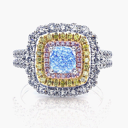 Real 2.23ct Natural Fancy Light Blue & Pink Diamonds Engagement Ring GIA 18K
