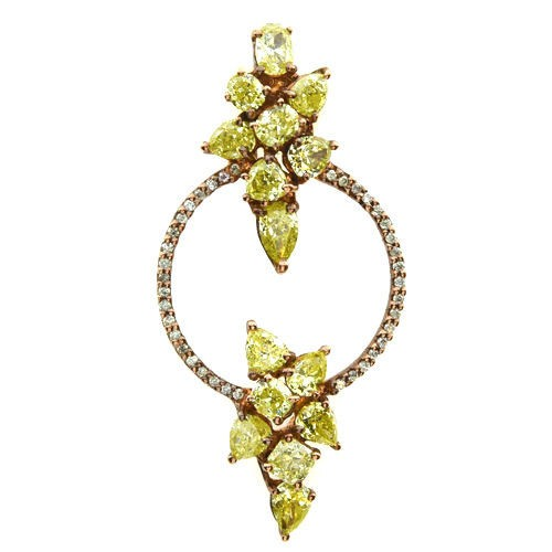 Real 2.44ct Natural Fancy Mix Yellow Diamonds Pendant Necklace 18K Solid Gold