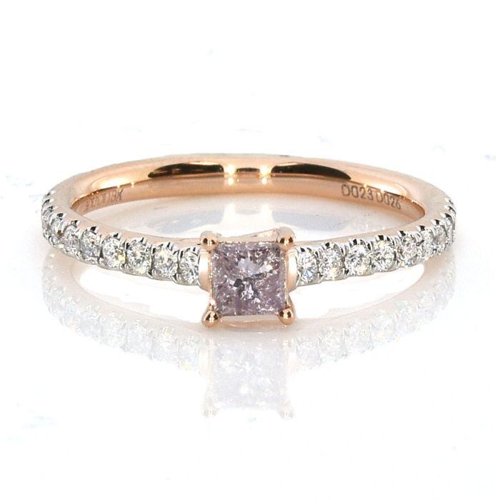 0.53ct Natural Fancy Pink Purple Diamond Engagement Ring Princess 18K VS-SI