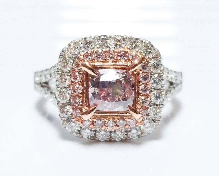 1.70ct Natural Fancy Pink Purple Diamonds Engagement Ring GIA Cushion 18K Gold